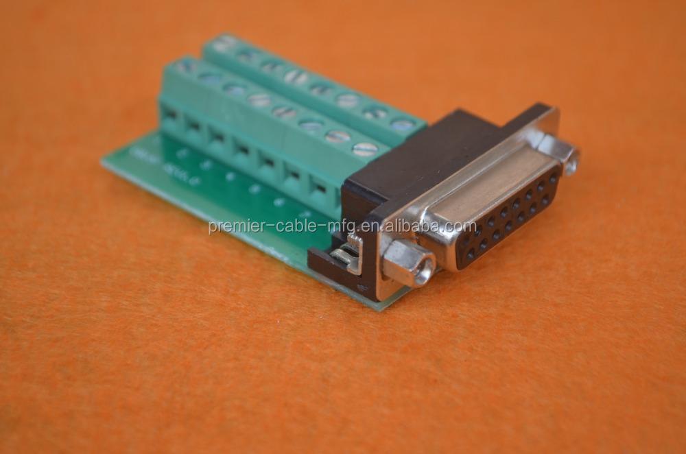 D-sub VGA DB15 Mâle 3Row 15Pin Plug To Terminal Breakout Board Connecteur