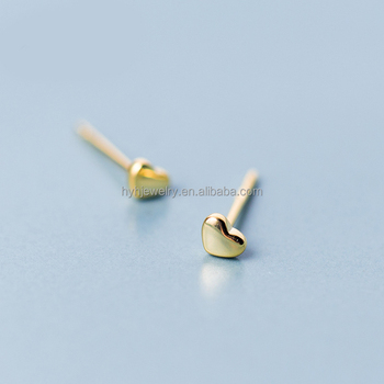China Factory Small Delicate Earring 18k Gold Heart Stud Earrings Designs For S