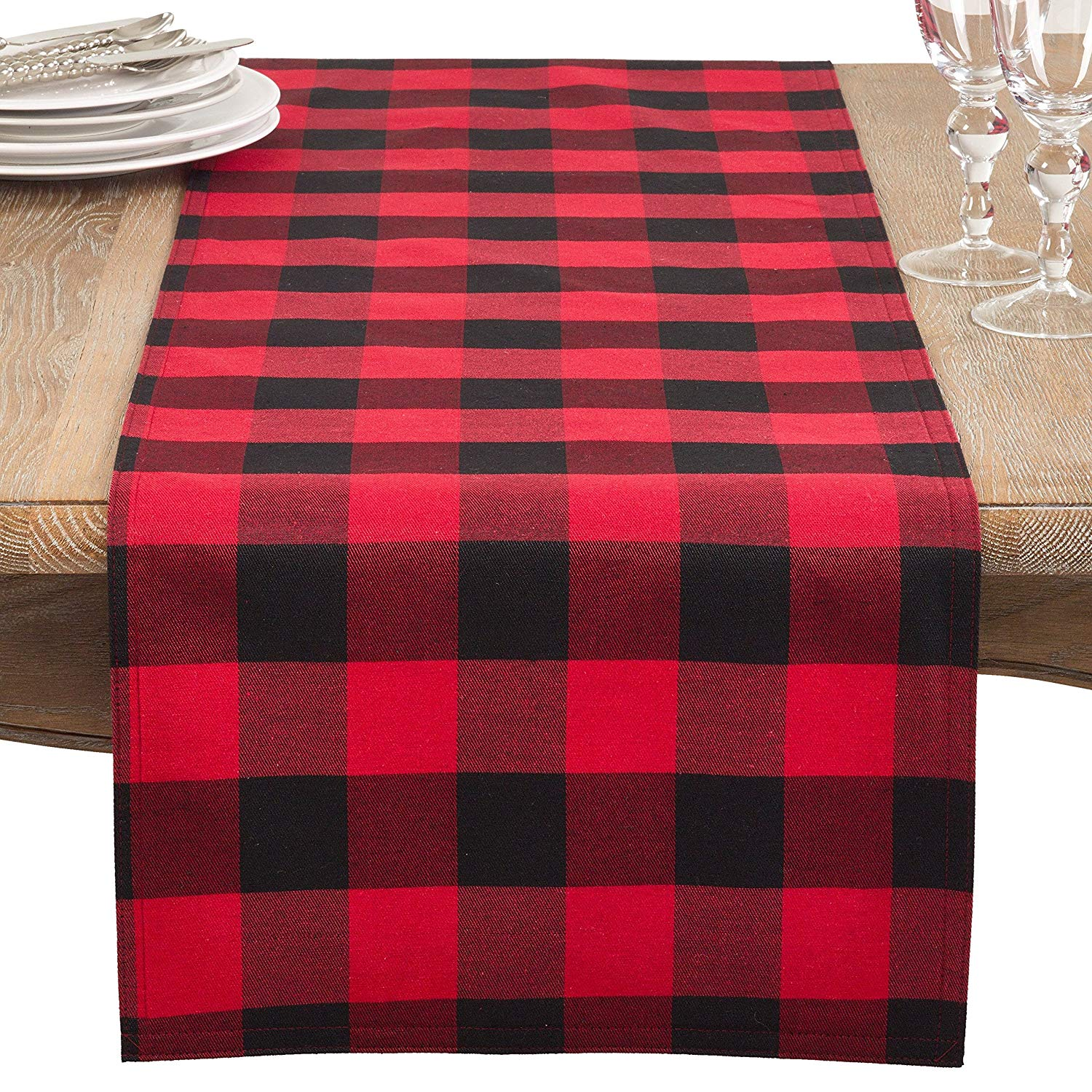 "16"" X 72""inch Red Black Multi Colored Buffalo Plaid Patterned Table Runner, 1 Piece Checkered Tartan Glen Check Geometric Squared Box Design Dining Table Linen Log Cabin, Polyester"