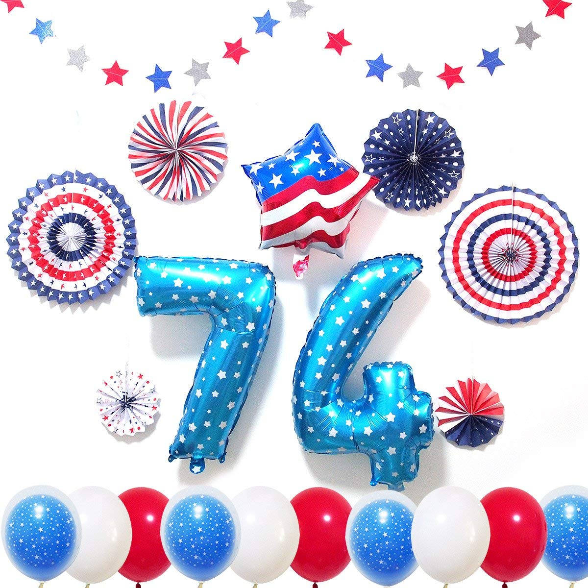 "4th of July Decorations Set, American Flag Element decorations - Patriotic Supplies - Including 13 Red White Blue Foil and Latex Balloons, 6 Paper Fans and 2 Strands of 75"" Glittering Star Streamers"