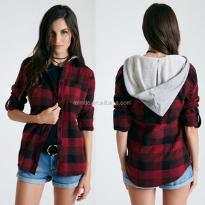 Hoodies & Sweatshirts Women's Warm Flannel Long Roll Up Sleeve Button Up Plaid Shirt With Knit Hood