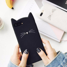 Nette <span class=keywords><strong>Schnurrbart</strong></span> Katze Silikon Coque Abdeckung Phone Cases Für iPhone 6 6 s 7 Plus