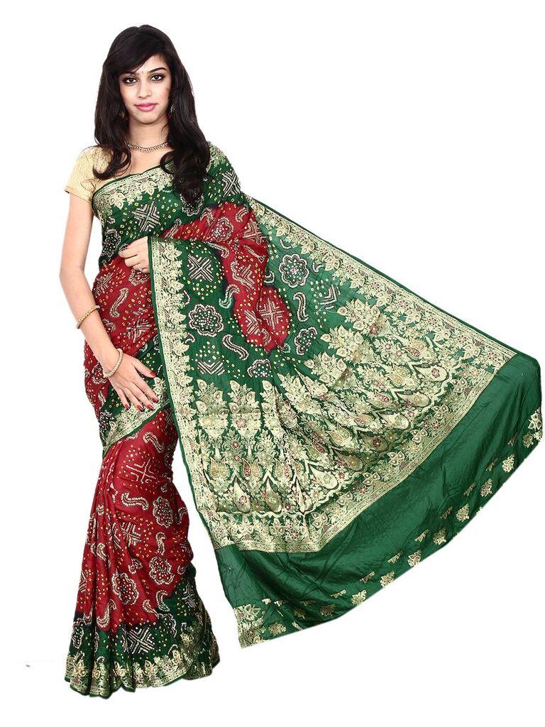 4517402dd4 Kala Sanskruti Gaji Silk Red & Green Bandhani Saree - Buy India ...