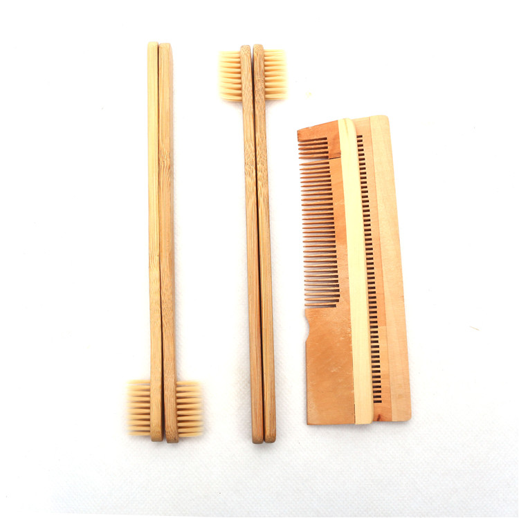 Hotel bamboo toothbrush and comb travel kit