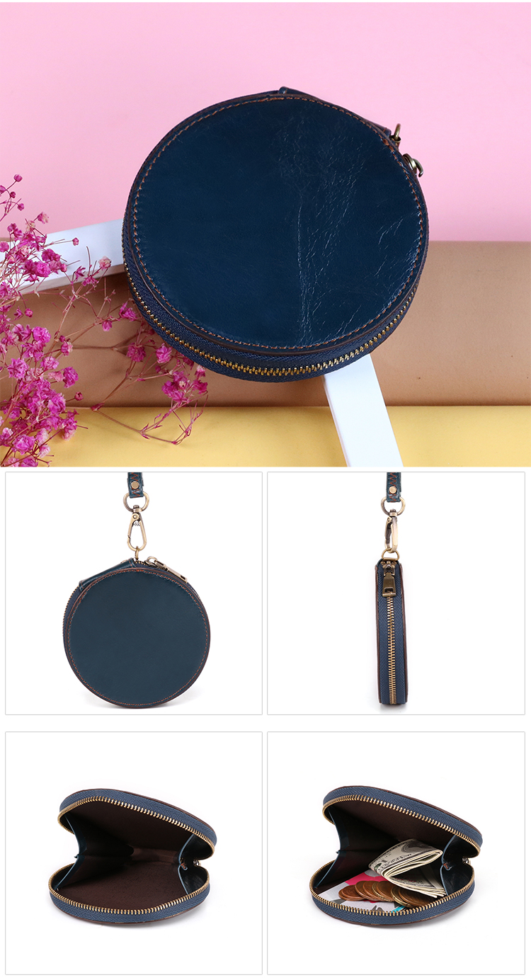 High quality women mini real leather wholesale coin purse bag clasp wallet genuine leather zip coin purse