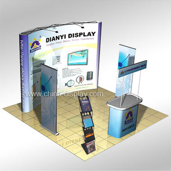 Portable Exhibition Display : China aluminum display shelf trade show booth with portable