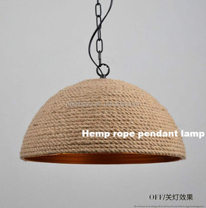 Industrial hanging pendant lamp vintage lighting Hemp rope hanging lamp metal and rope made