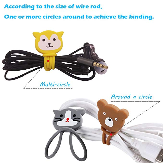 Wholesale silicone cartoon earphone cable winders mini earphone cover case cord organizer for promotional gift fast delivery