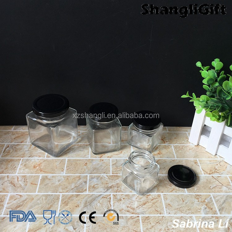 50ml 100ml 200ml wholesale square food glass storage jar with lid