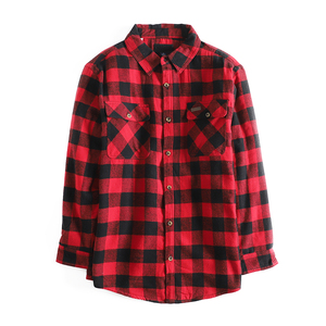 Side Zip Long Sleeve 100% Cotton Red and Black Elongated Longline Men Plaid Flannel Check Shirt