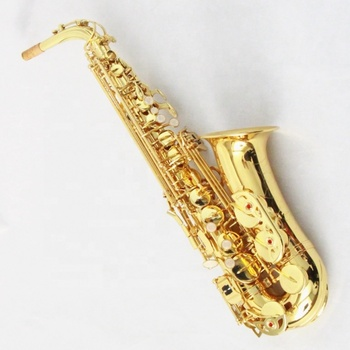 China Saxofon Alto Gold lacquer brass body sax eb alto saxophone