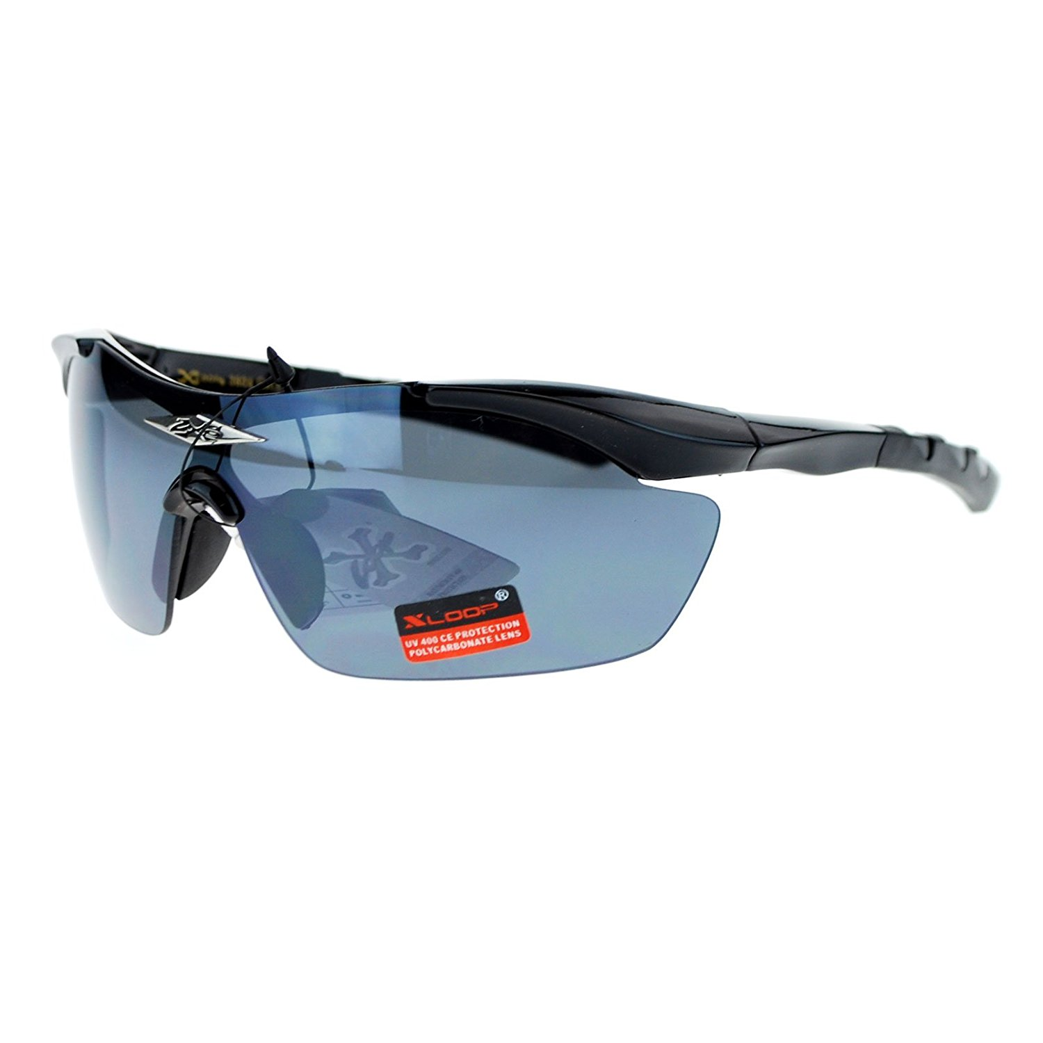 8d3771bf61 Get Quotations · X Loop Shield Baseball Rimless Half Rim Sport Sunglasses