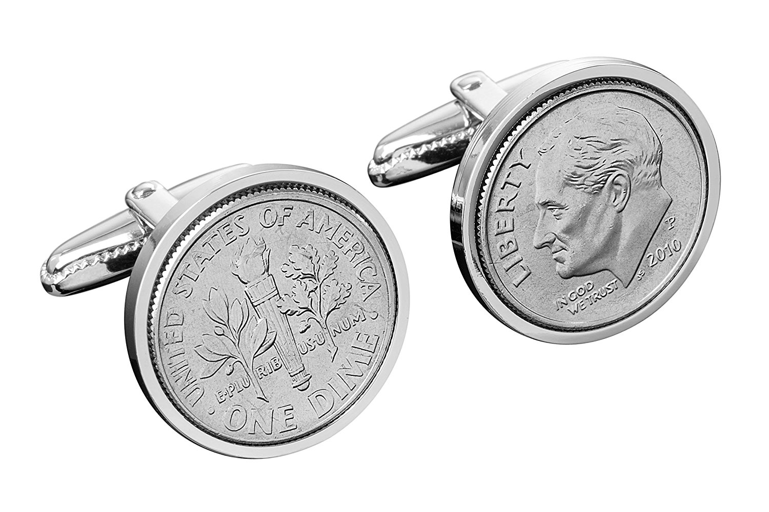 Men's Dime Cuff Links (Pair) US Mint Coins | Sterling Silver Designer Accessories | Small, Metal Rotating Clasps | Intricate Details