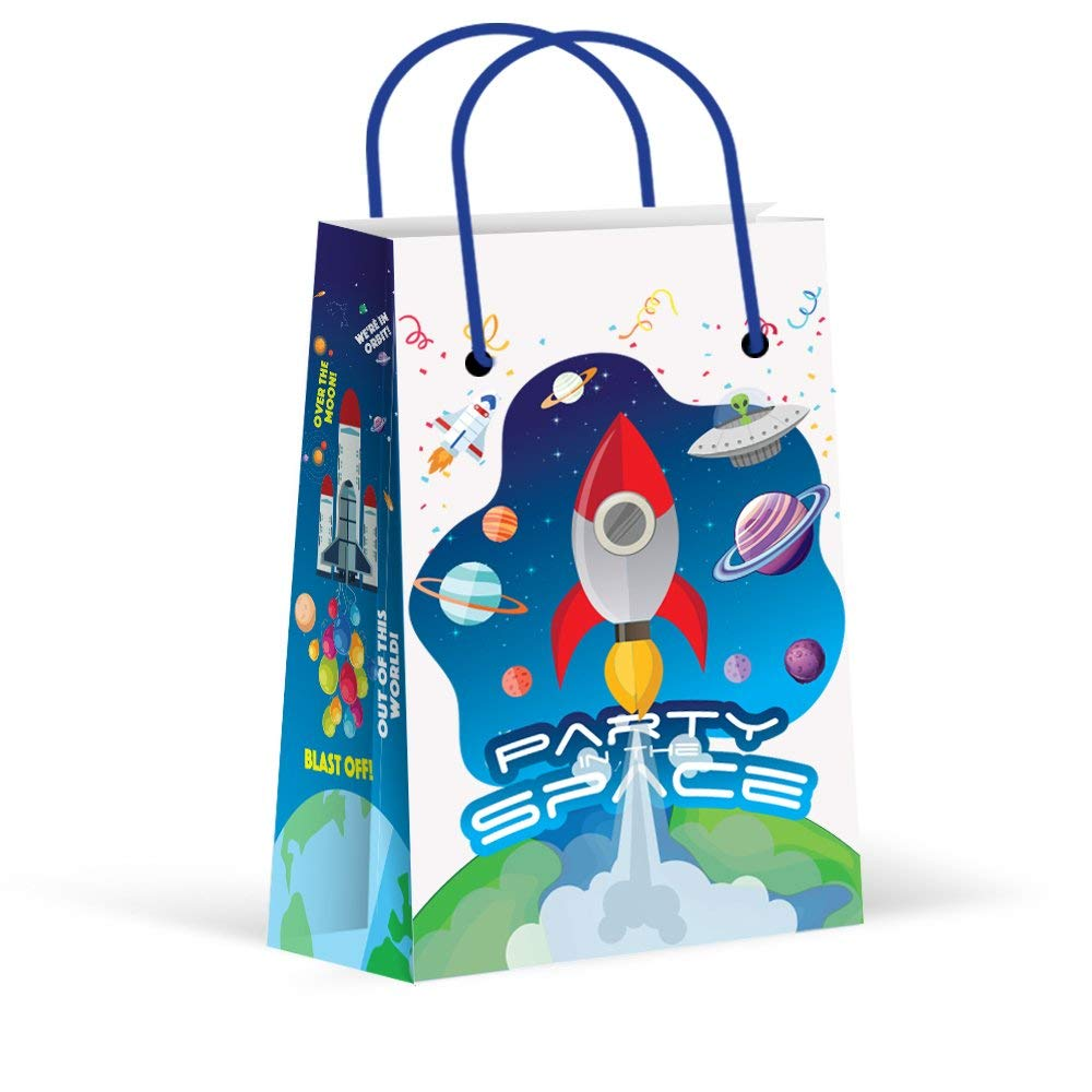 Premium Space Party Bags, Outer Space, Astronaut Party Favor Bags, New, Treat Bags, Gift Bags,Goody Bags, Space Party Favors, Space Party Supplies, Space Party Decorations, 12 Pack