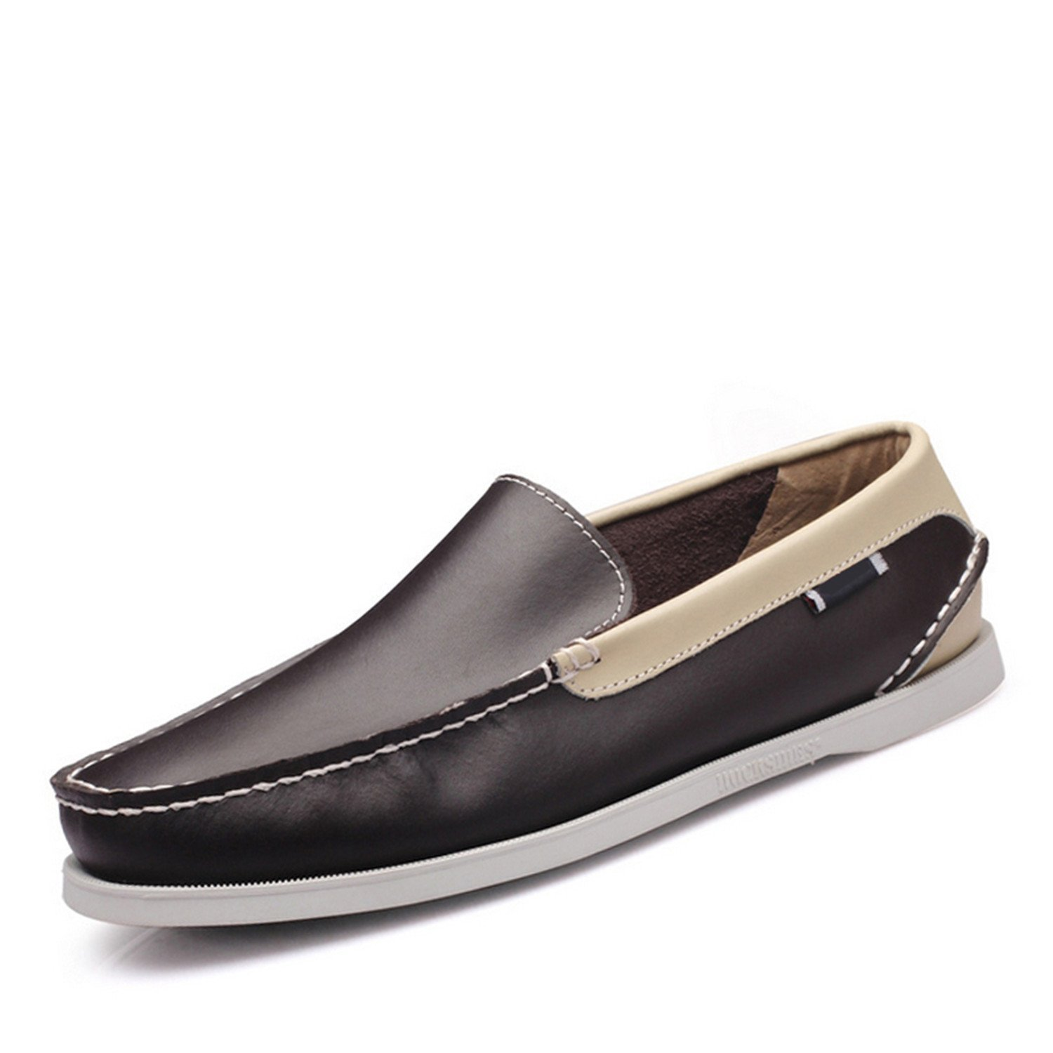 Bradleybla New Fashion Boat Shoes Men Slip on Genuine Leather Loafers Breathable Driving Shoes Men Soft Moccasins Comfortable Casual Shoes