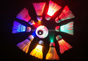 PU Cock flashing lighted badminton Shining Duck Feather Shuttlecock