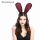 TT8 Hot Sale Fashion Animals Hair Band Costume Accessories Head Band Plush Sequin Bunny party Rabbit Ear Headband