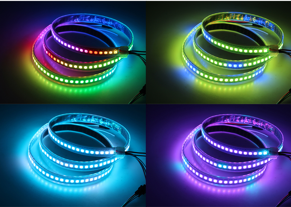 FEICAN Full Color 5050SMD WS2812B LED Strip DC5V Black or White PCB RGB Smart Pixel control Led Strip
