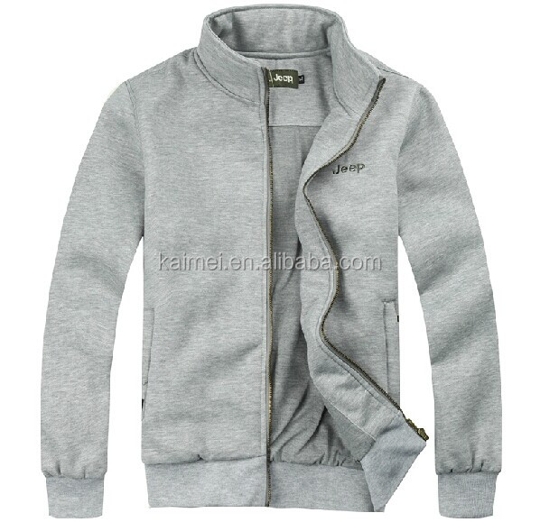 a3795a2ec Stand Collar Long Sleeve Pure Cotton Fleece Metal Full Zip Jacket /Sweatshirt  Without Hood /