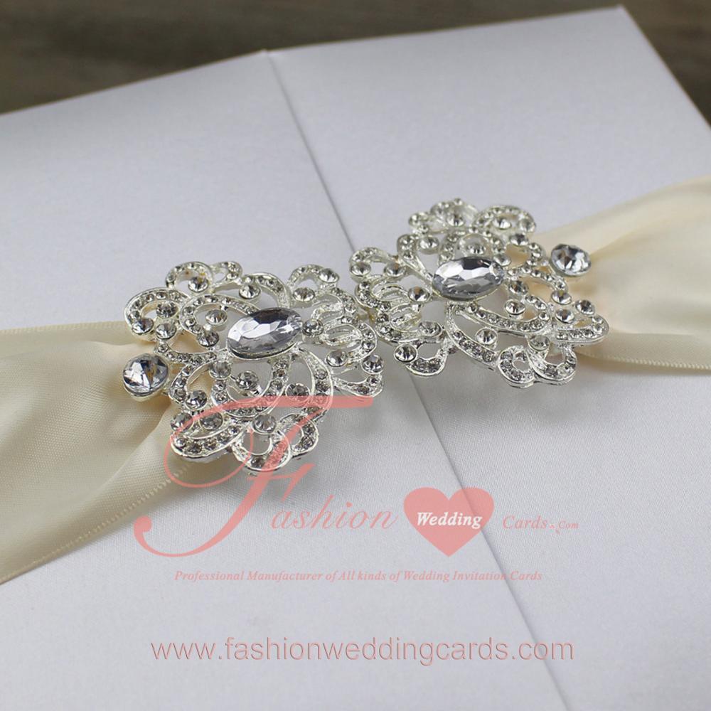 Wholesale Folio Silk Box Wedding Invitation With Brooch - Buy ...