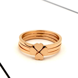 2019 fashion simple clovers titanium steel rose gold plated ring female hearts three-piece ring
