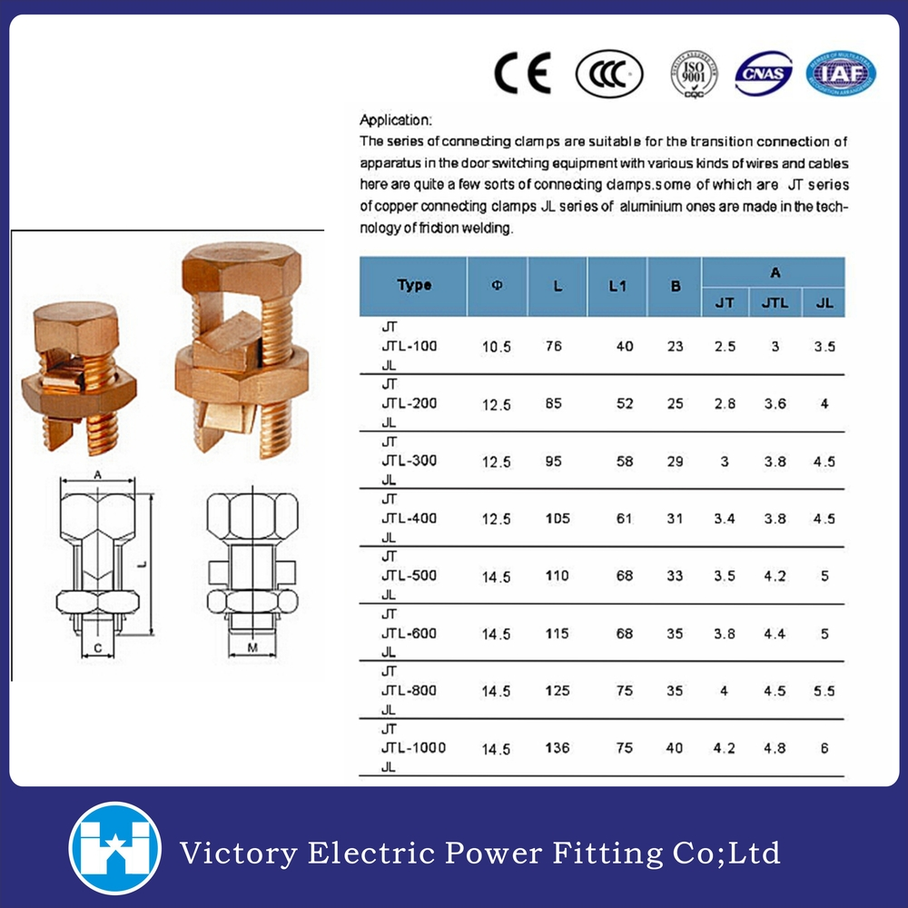 Cable wire connector screw t j split bolted connector for Standard electrical service sizes