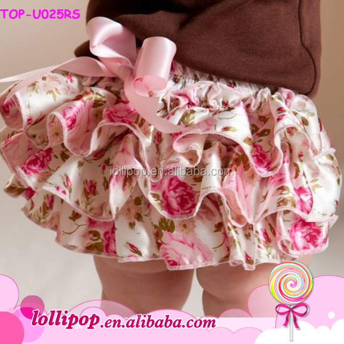 floral printed Baby Underwear wholesale knit ruffle diaper cover infant bloomers