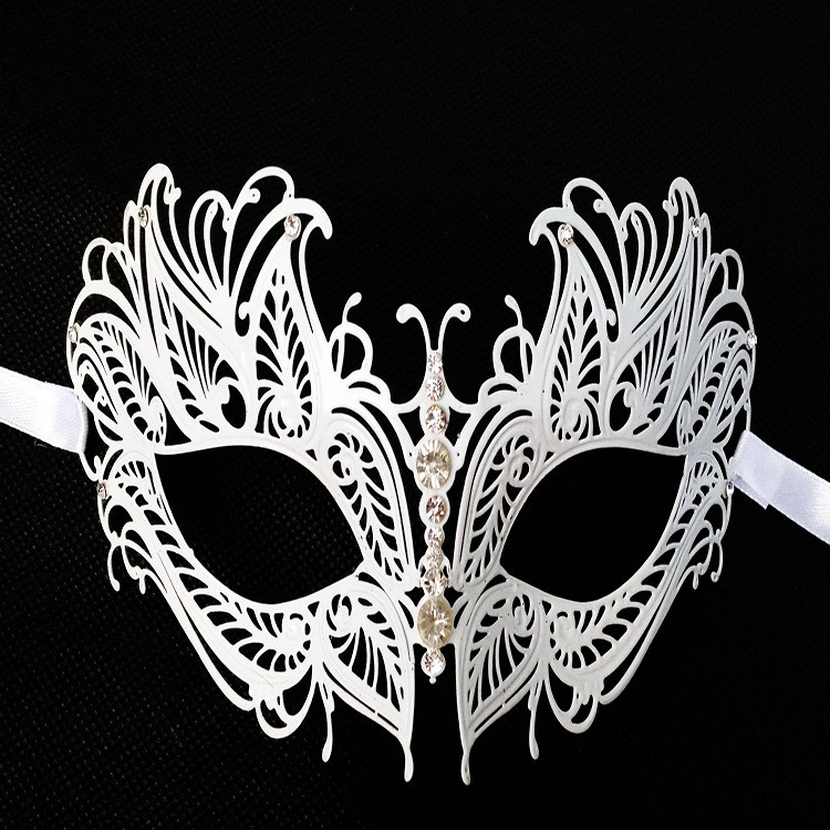 Noir Luxe métal filigrane Laser Cut Vénitien Masquerade Masque Avec Strass