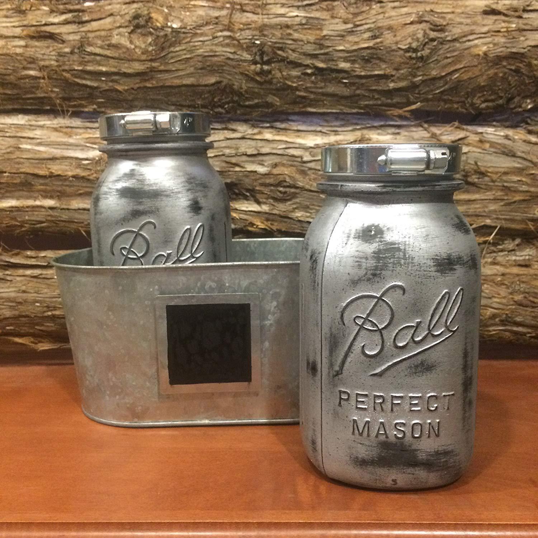 Rustic Silver Mason Jars, Industrial Look Mason Jar Centerpiece with Vintage Ball Mason Jars