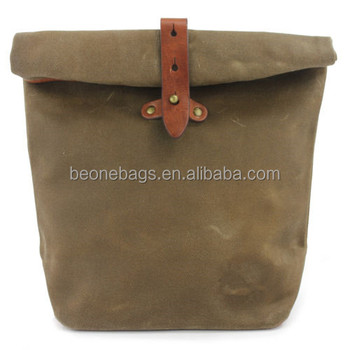 Personalized Men Vintage Waxed Canvas Lunch Bag For Office