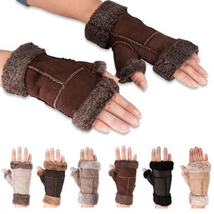 Women Sheepskin Mittens Real Fur Winter Fingerless Leather Gloves