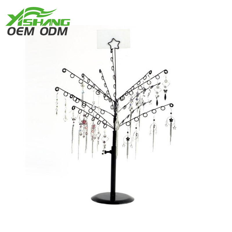 Dependable quality 78 holes black metal jewelry stand tree