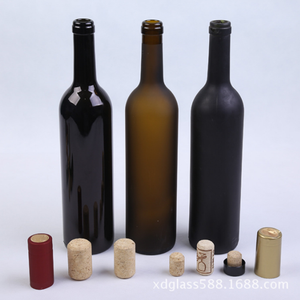 Matte Surface 750ml Black Glass Wine Bottle With Stopper
