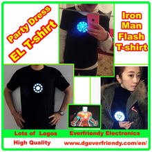 LED t-shir iron man flashing/luminous t-shirt el t-shirt sound activated clothes/dress/wear