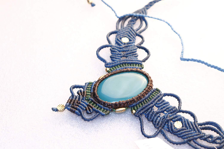 Handmade Macrame Necklace Chick. Pendant Jewelry Onyx Cord Bohemian