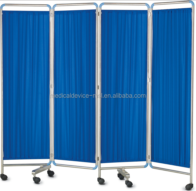 Durable Four Sections Hospital Ward Folding Screen/four fold mobile bedside screen