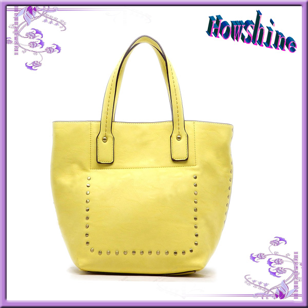 Hot Sale Yellow Fashion Lady Leather Handbags Vietnam