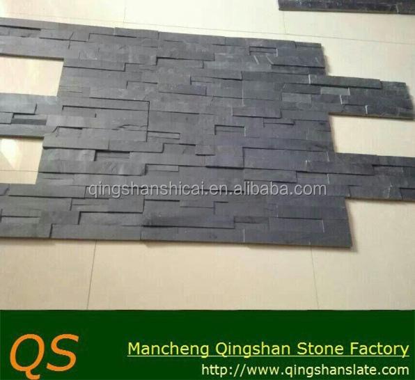 Klassische Schwarze Schiefer Gestapelt Dekorative Wandverkleidung  Landschaft Gebäude Wand Steinplatten