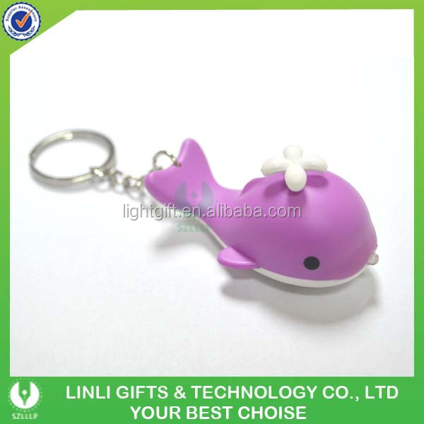 Factory Supply 3D LED Sound Ocean Animal Whale Keychain
