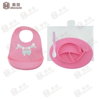 Baby Child Kids silicone placemats with Spoon Bib Feeding Training Bowl Tableware Suction Plate