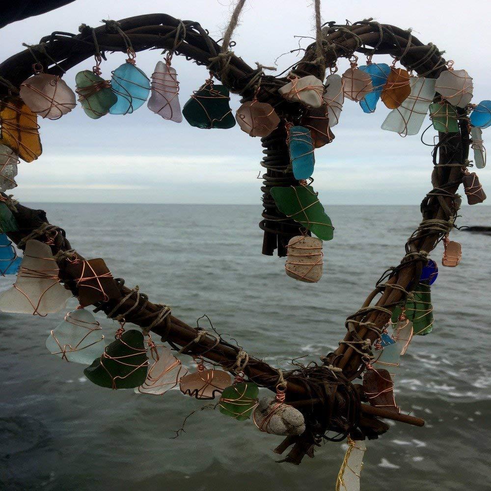 Heart Sea Glass Beach Glass Sun Catcher Bohemian Window Beach Wedding Eco Friendly Decor Lake Erie Ohio
