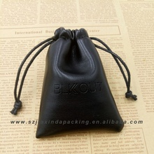 Custom black Gem Leather Bag With Drawstring
