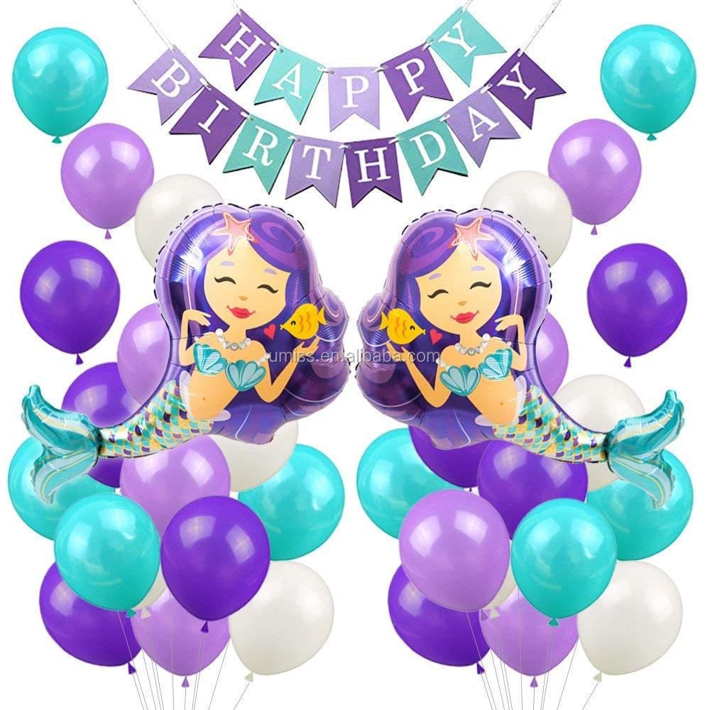Sirena Globos Decoraciones De La Fiesta De Feliz Cumpleañosbanner De Fiesta De Cumpleaños De Las Niñas Bebé Ducha Partido Suministros Buy Conjunto