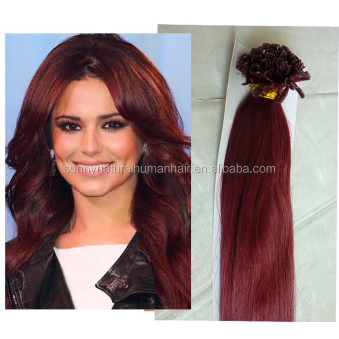 Human Hair U Tip Hair Extensions Dark Red 99j Keratin Nail Tip Hair
