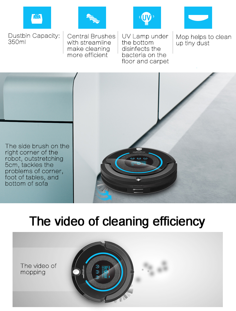 LIECTROUX A338 robotic floor cleaner, sweep, vacuum, mop, sterilize