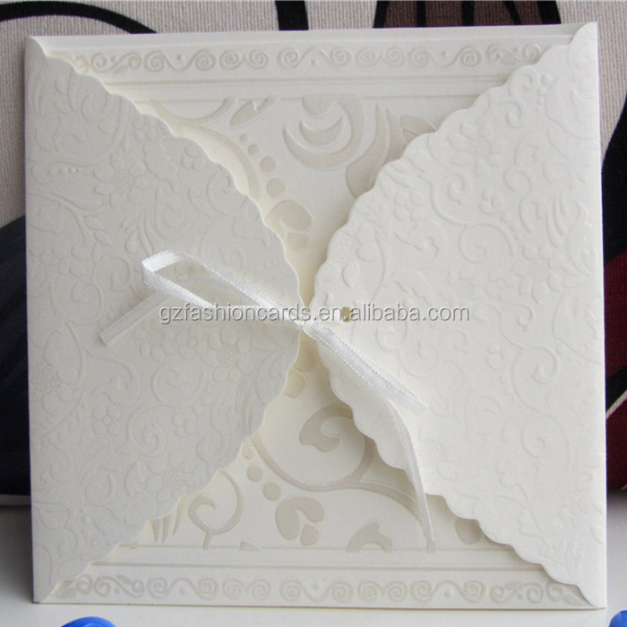 2014-2015 Square Vintage Ivory Luxury Wedding Invitation Cards with Ribbon