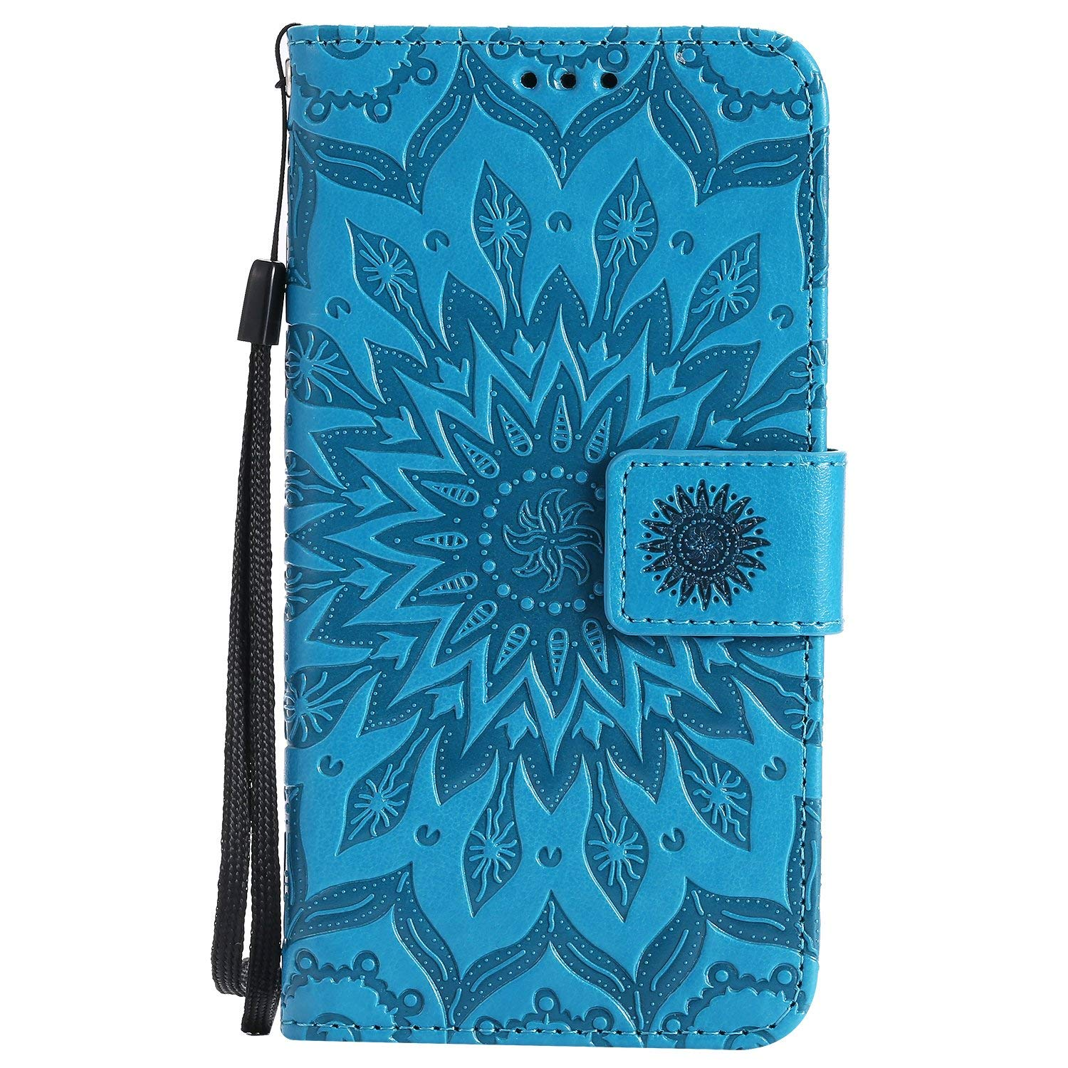 Galaxy J7 V Case J7 Perx /J7 Sky Pro Cover ZVKVAMT Luxury Natural Silk Pattern PU Leather Wallet Flip Protective With Credit Card Slots Stand Magnetic Wristlet Strap for Samsung J7 2017 (FL-BLUE)