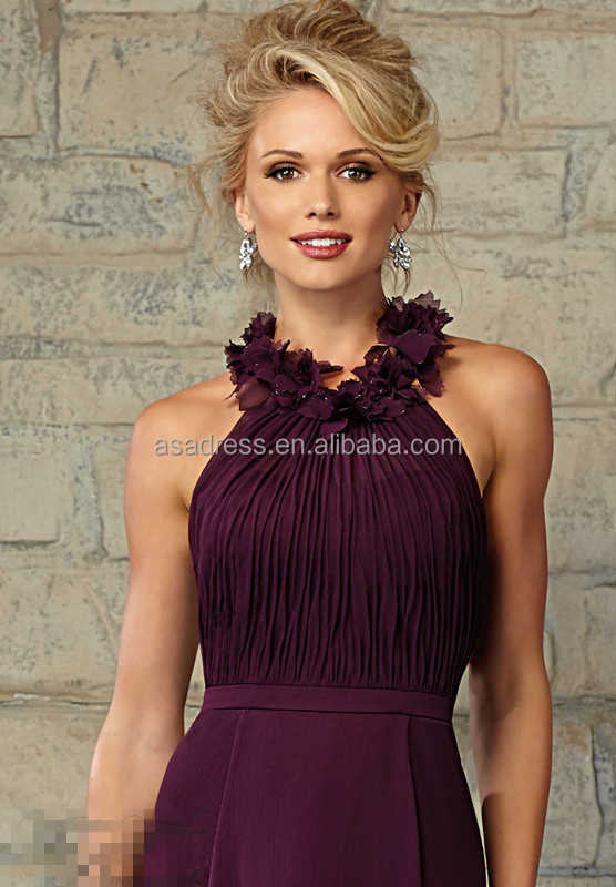 Long Halter Top Purple Bridesmaid Dresses