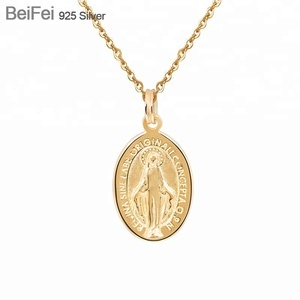18 K gold plating 925 sterling silver virgin mary necklace female