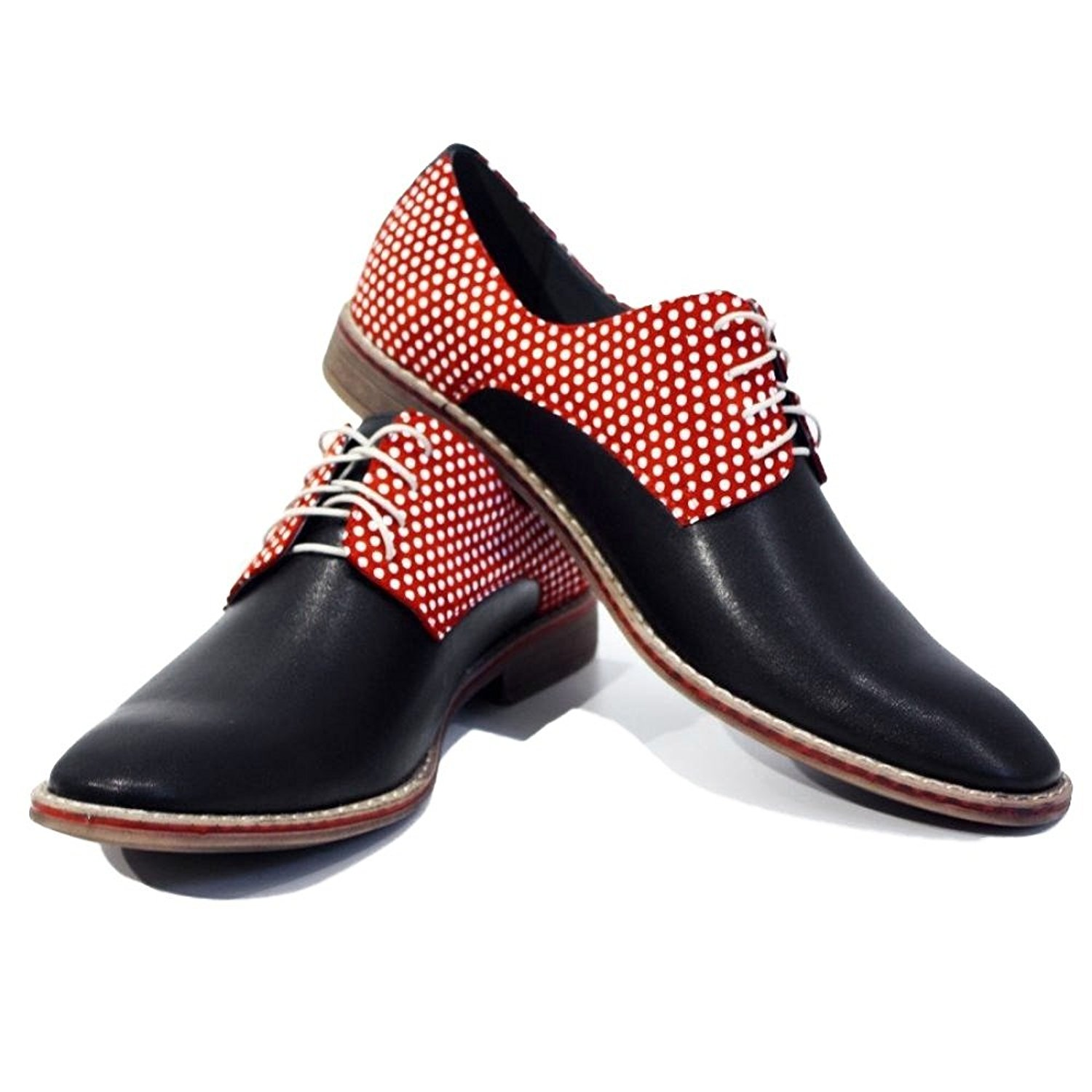 Modello Ragusa - Handmade Italian Mens Red Oxfords Dress Shoes - Cowhide Smooth Leather - Lace-up